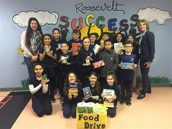 Photo of students and food drive
