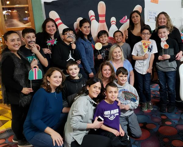 Picture of mother and son bowling event